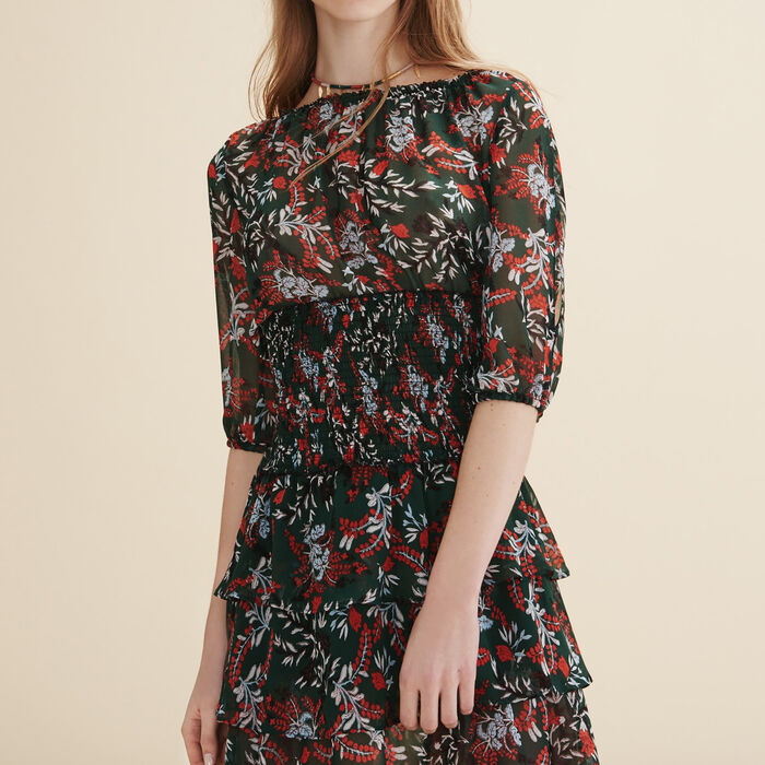 Langes Kleid aus Plumetis -  - MAJE