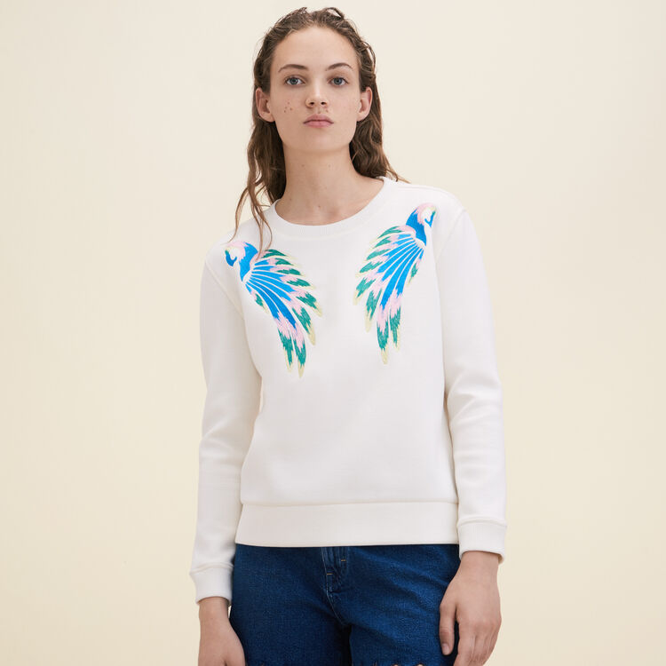 Sweat-shirt avec broderie - Maille - MAJE