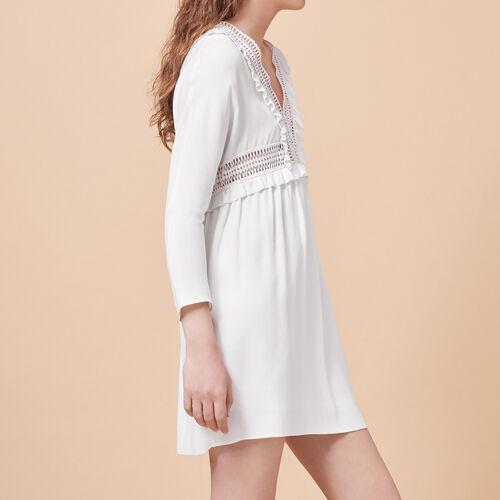 Vestido de crepé con detalles calados - Vestidos - MAJE