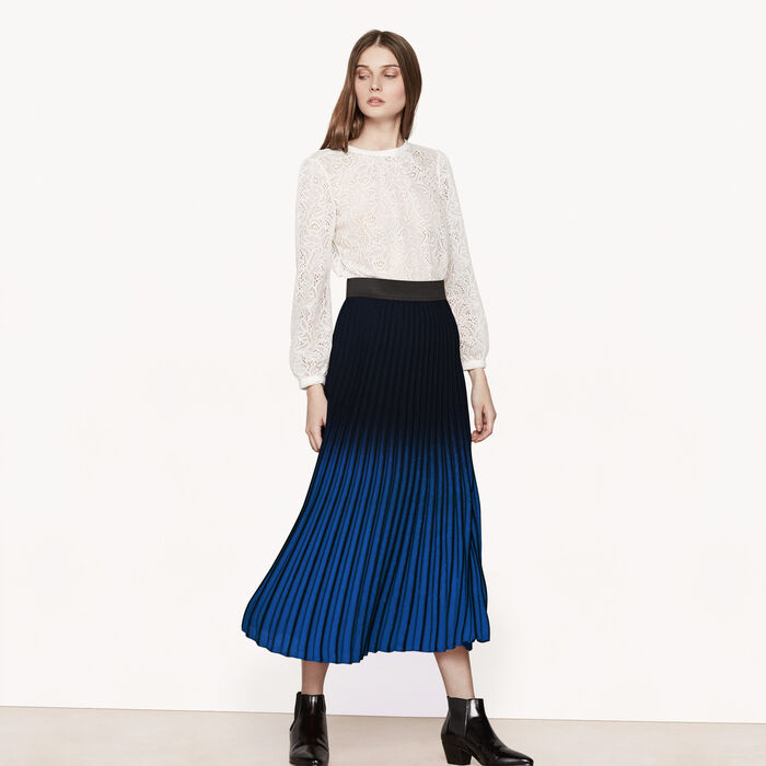 Long tie-dye effect pleated skirt -  - MAJE