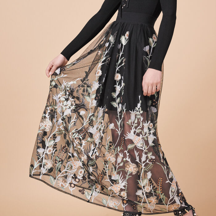 Long skirt with embroidery -  - MAJE