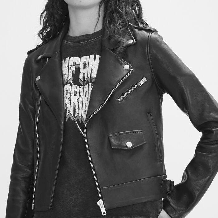Bonded leather jacket -  - MAJE