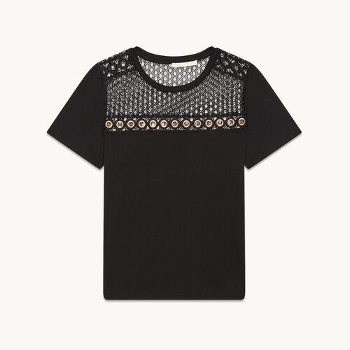 T-Shirt aus Baumwolle mit Stickerei - Tops - MAJE