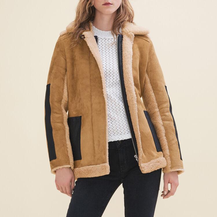 Manteau en peau lainée retournée - Manteaux - MAJE