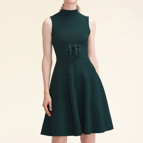 Stretch-knit sleeveless dress with belt - Dresses - MAJE