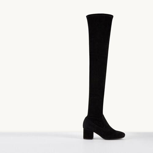 Overknee-Stiefel aus Veloursleder - Schuhe - MAJE