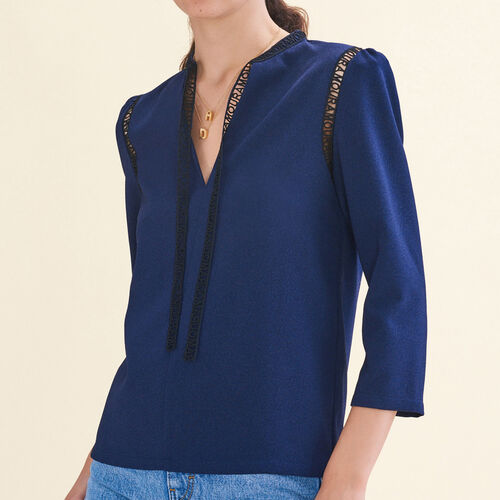 Blouse with braid trim - Tops - MAJE