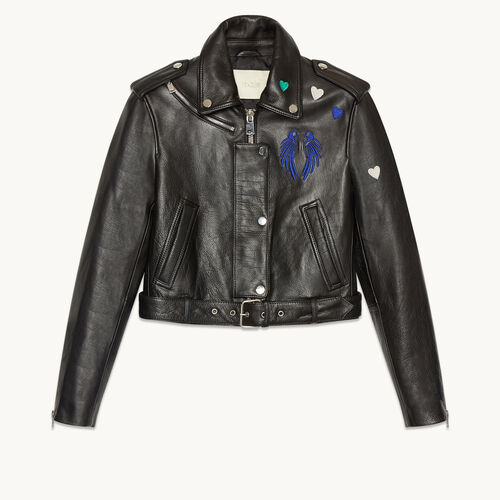 Cropped cowhide leather jacket - Coats & Jackets - MAJE