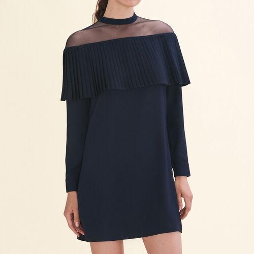 Kleid mit plissierter Rüsche aus Krepp - Kleider - MAJE