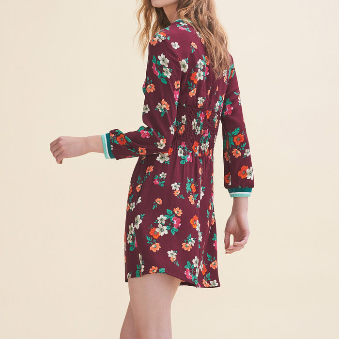 Flowing dress with a retro print -  - MAJE