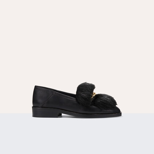 Leather loafers with detachable fur - Shoes - MAJE