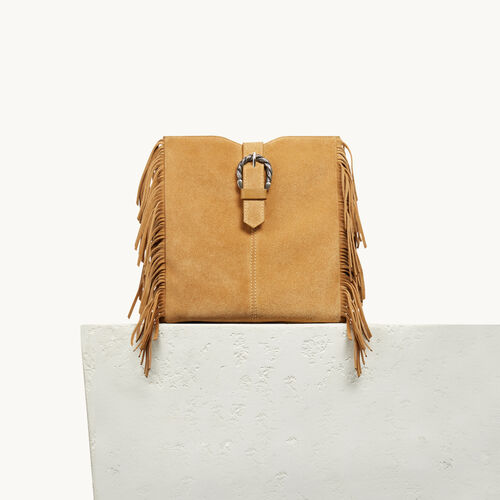 M bag in suede with scalloped buckle - All bags - MAJE