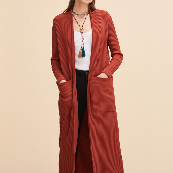 Long tube-knit cardigan -  - MAJE