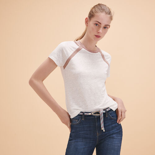 Linen T-shirt with lurex detailing - Tops & T-Shirts - MAJE