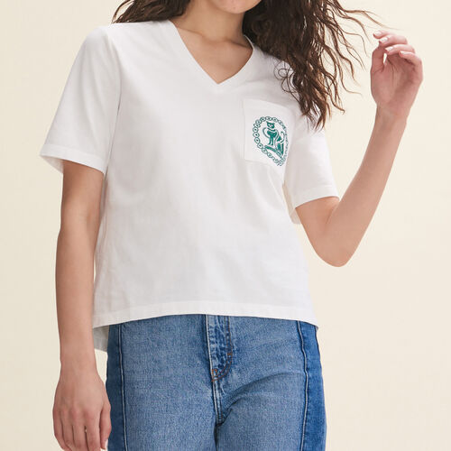 Embroidered cotton T-shirt - Tops - MAJE