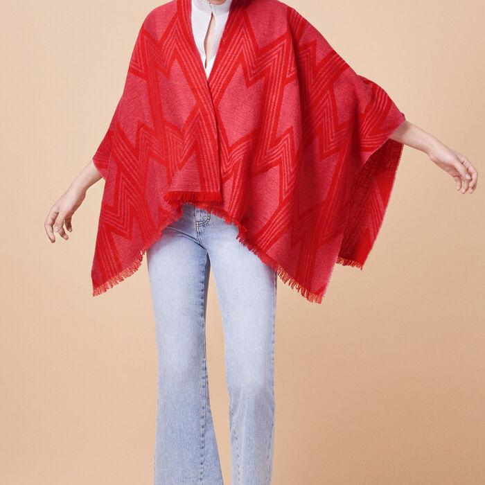 Two-tone wool blend poncho -  - MAJE