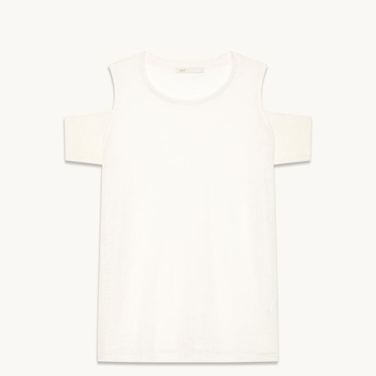 Linen off-the-shoulder T-shirt - Tops & T-Shirts - MAJE