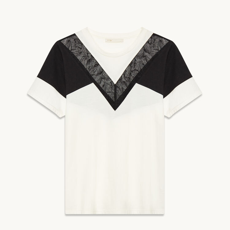 T-shirt with lace - Tops & Shirts - MAJE