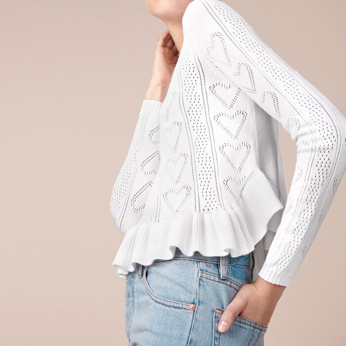 Frilled jacquard knit sweater -  - MAJE
