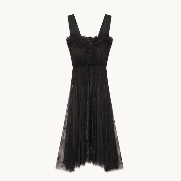 Long lace and dotted Swiss dress - Dresses - MAJE