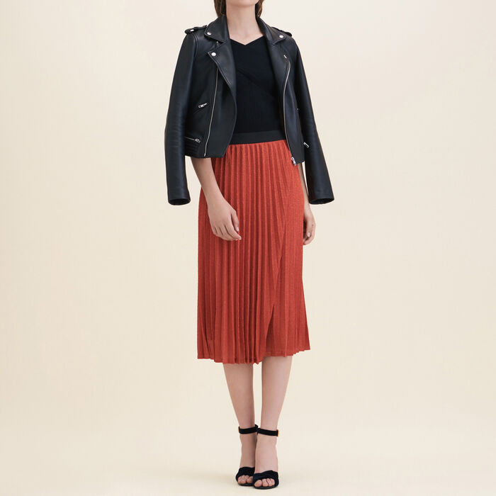 Lurex knit pleated skirt -  - MAJE
