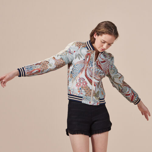 Bomber jacket with Chinese embroidery - Coats & Jackets - MAJE