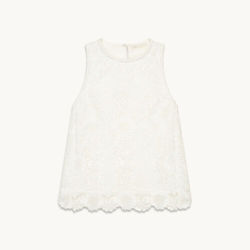Sleeveless guipure top - Tops - MAJE
