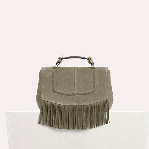 Mini satchel in suede with fringe - Shoulder bag - MAJE