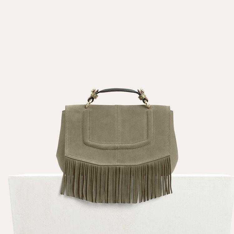 Sac mini-cartable en daim avec franges - Sacs porté épaule - MAJE