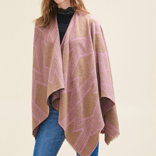 Poncho with M print - Scarves - MAJE