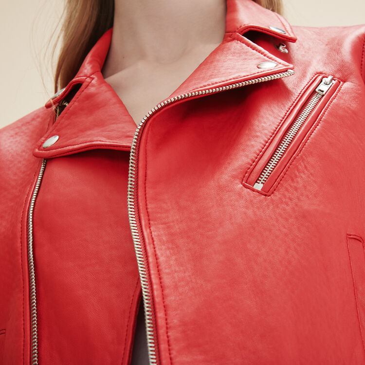 Biker-style leather jacket - Coats & Jackets - MAJE