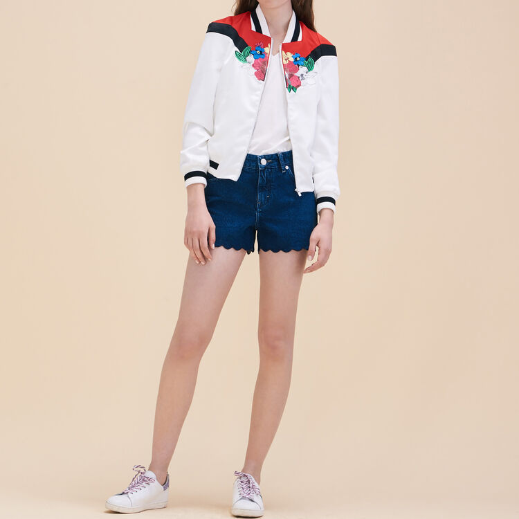 Embroidered satin varsity jacket - Jackets & Bombers - MAJE