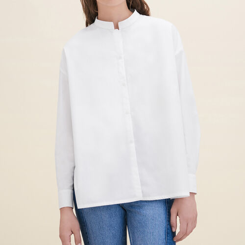 Asymmetric poplin shirt - Tops - MAJE