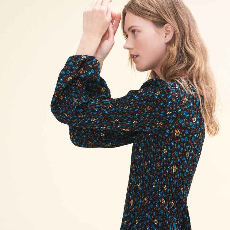 Robe plissée imprimée - Robes - MAJE