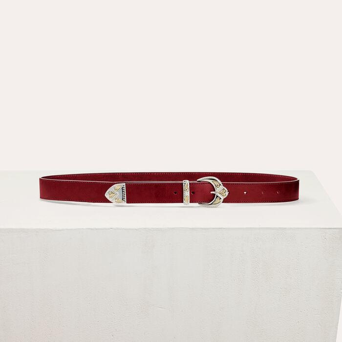 Scalloped buckle leather belt -  - MAJE