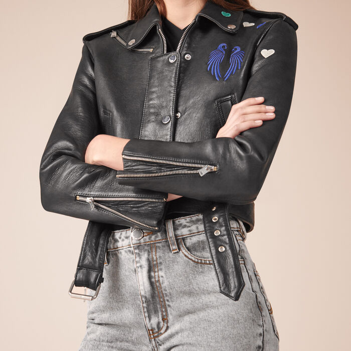 Cropped cowhide leather jacket -  - MAJE