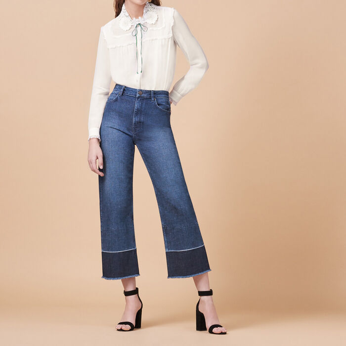 Wide-leg jeans with fringing -  - MAJE