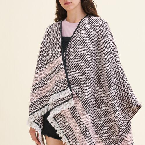 Poncho in maglia fantasia bicolore - Sciarpe e Foulard - MAJE