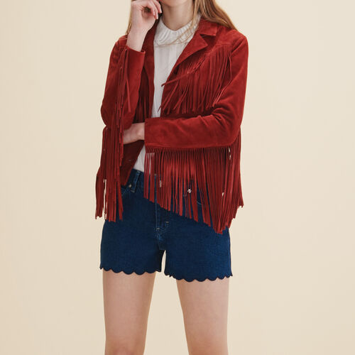 Leather fringed jacket - Coats & Jackets - MAJE