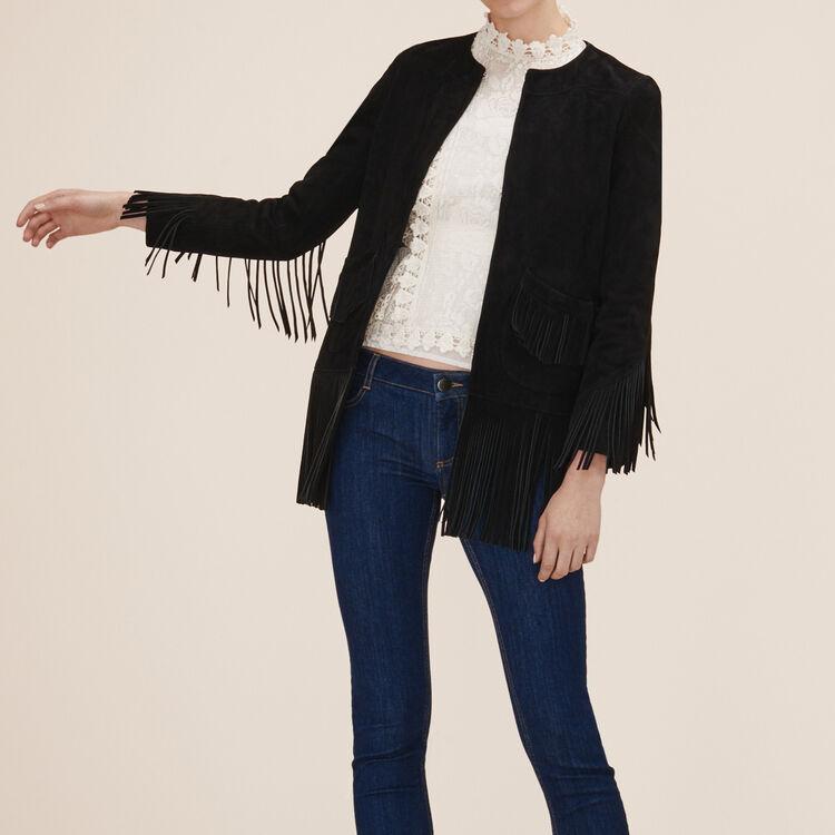 Suede fringed jacket - Coats & Jackets - MAJE