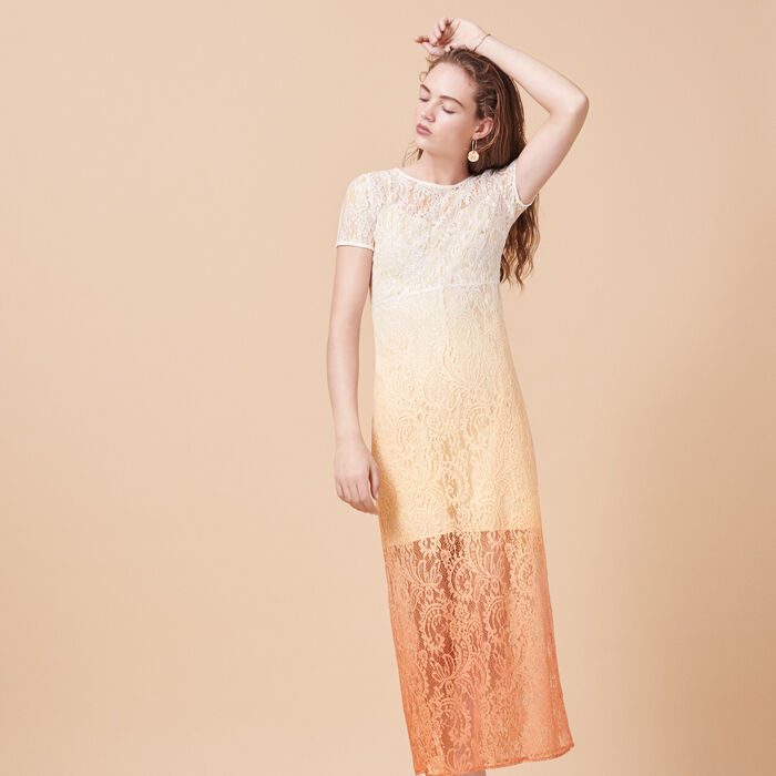 Long tie-dye lace dress -  - MAJE