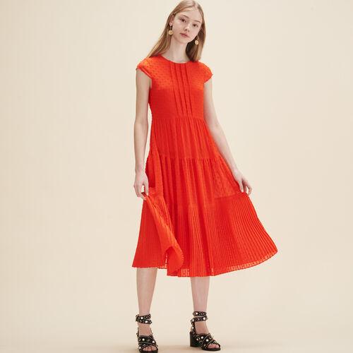 Vestido largo de plumetis - Vestidos - MAJE