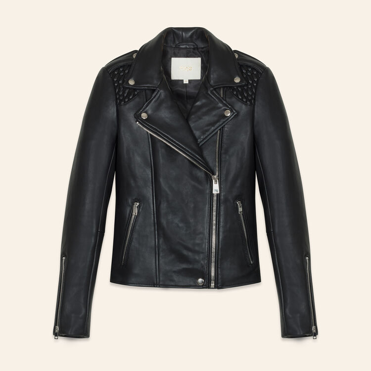 Leather jacket with woven detailing - Jackets & Bombers - MAJE