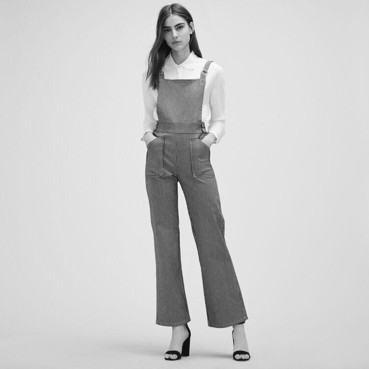 Salopette à rayures - Jeans - MAJE