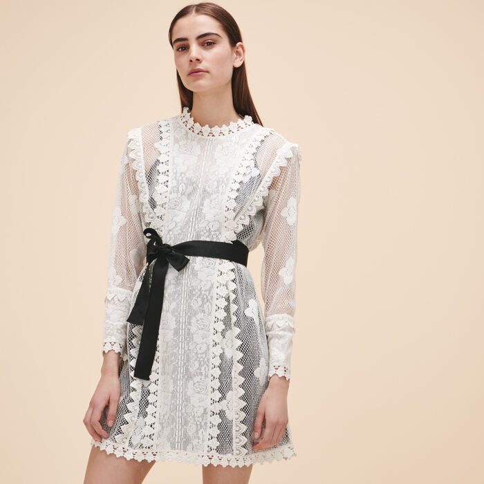 Lace dress with belt -  - MAJE