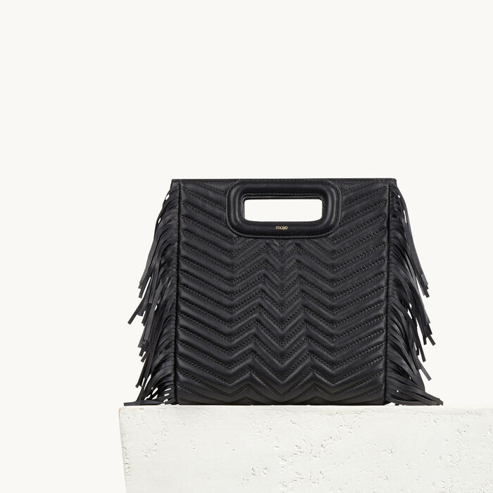 Quilted leather bag with fringing - The M - MAJE