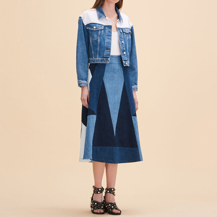 Denim flared skirt -  - MAJE
