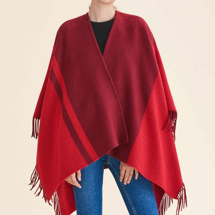 Two-tone fringed poncho -  - MAJE