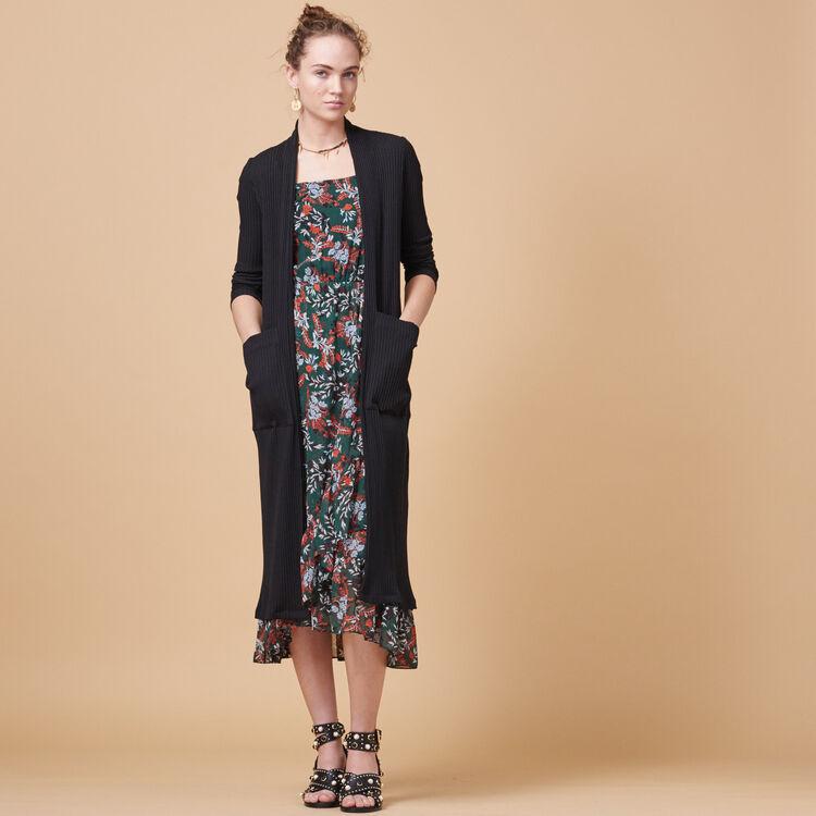 Vestido largo estampado de muselina - Vestidos - MAJE