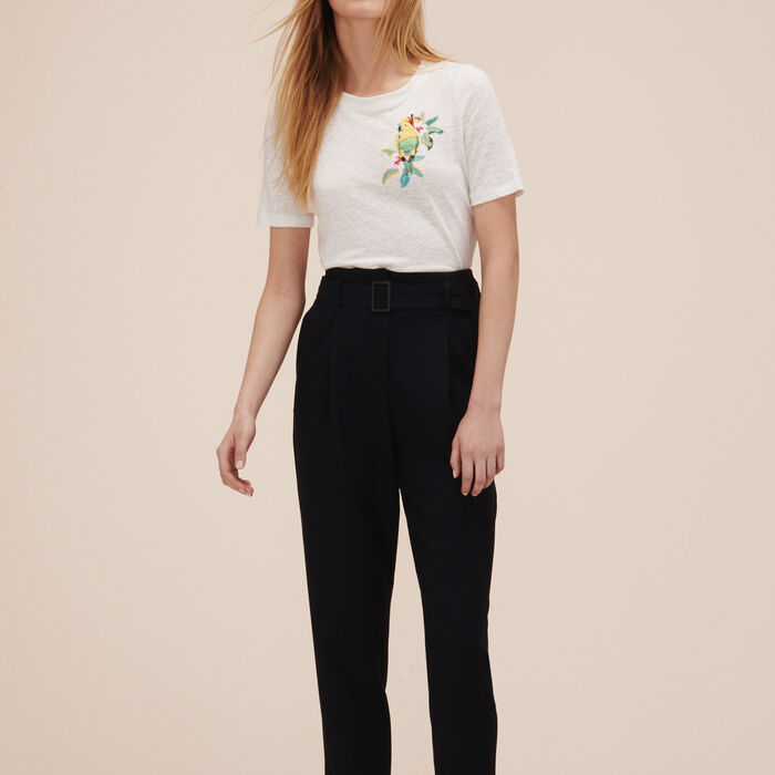 Crêpe 7/8-length trousers -  - MAJE